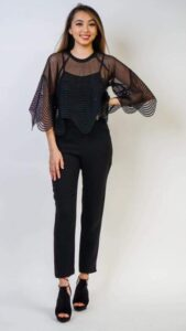 black top with mesh puff sleeves