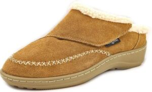 warm slippers with leather material