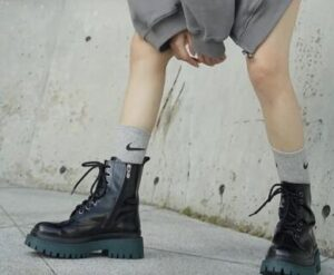 logo socks with Dr Martens boots