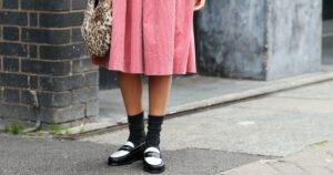 graphic color block mocs and slouchy socks