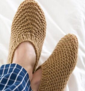 how to knit slippers for him