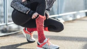 wear workout shoes with knee high socks