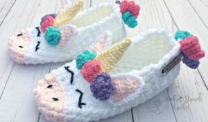 crochet women slipper boots with unicorn design