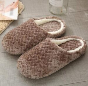 cotton and suede slippers