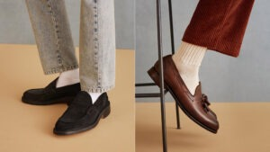 Neutral contrasts to style loafers with socks