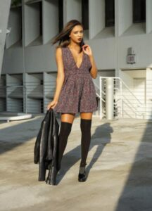above knee high socks with black leather shoes