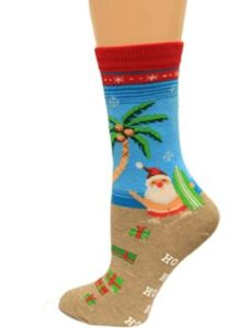 christmas socks with santa clause surfing