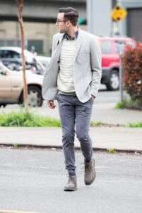 how to wear suit with joggers