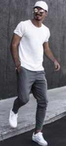 white shirt with grey jogger