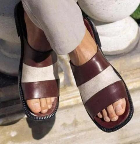 leather slippers with open toe design