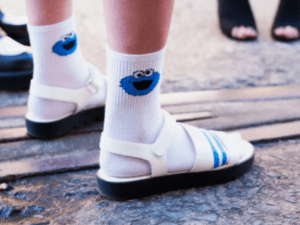 wear extra socks for sandal stretching